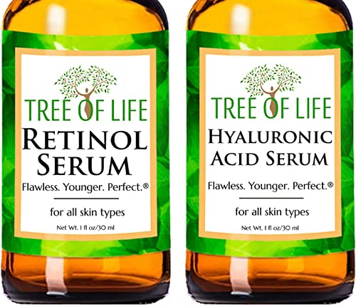 Anti Aging Serum Two-Pack - 98% Natural, 72% Organic Anti Wrinkle Serum - Retinol Serum - Hyaluronic Acid Serum