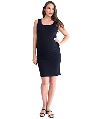 Angel Maternity Maternity Double Neckline Nursing Dress (Black) Women