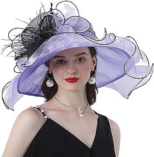 Women's Kentucky Derby Church Hat Summer Organza Wide Brim Sun Hat Dress Cap Fascinator Bridal Tea Party Wedding Hat Flat ...