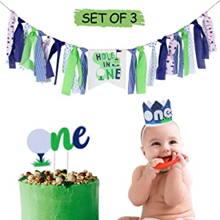 AERZETIX Baby 1st Birthday Decoration Set with Hole in One Highchair Burlap Banner, Golf One Birthday Cake Topper, Blue 1st Crown Hat Birthday Party Decorations - Netural (Boy or Girl)