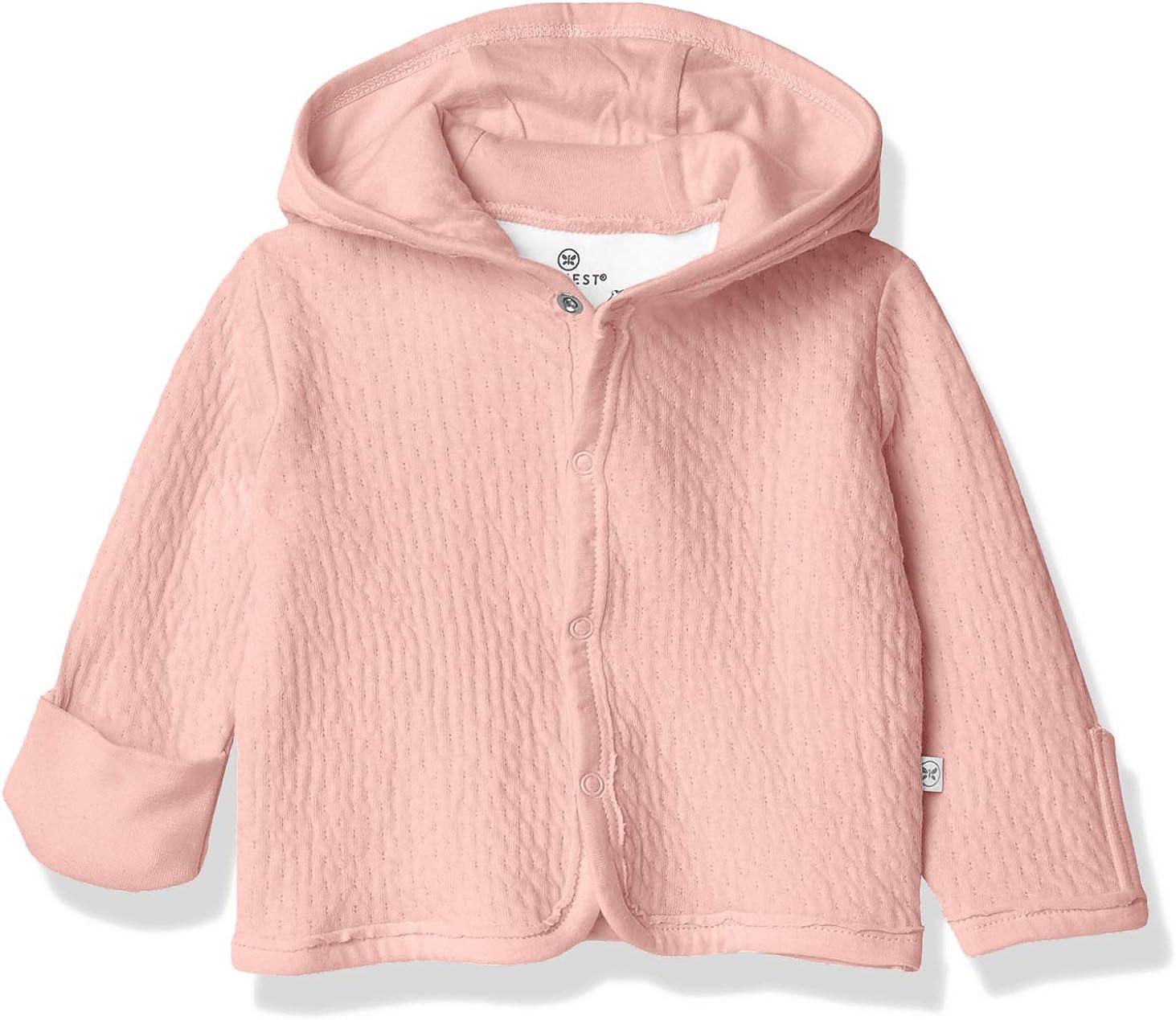 HonestBaby Baby Girls' Organic Cotton Matelasse Snap-Front Hooded Jacket