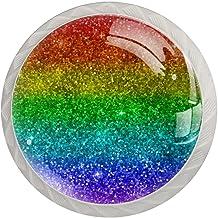 Lade handgrepen kabinet knoppen rond een pak van 4 lade knoppen, abstracte moderne regenboog glitter
