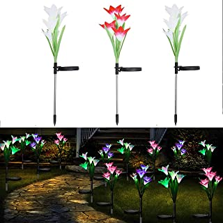 Gioyonil Solar Lights Outdoor: 3 Packs Multi-Color Changing LED Solar Power Lily Garden Stake Light for Patio Yard Lawn Pathway Walkway Decoration