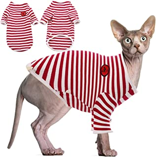 DENTRUN Hairless Cats Shirt Cat Wear Clothes Stripe Vest Best Hairless Cat's Adorable Clothes Cat's Pajamas Jumpsuit for A...