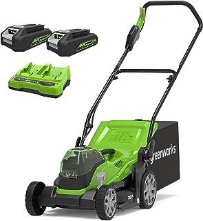Greenworks sladdlös gräsklippare G24X2LM36K2x (Li-Ion 24VX2 36 cm skärbredd upp till 250m² 40L gräsuppsamlingskorg 5x cent...