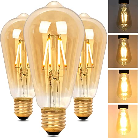 Regulable Bombilla LED E27 Edison, Bombilla Vintage ST64 Retro Dimmable, Lámpara Blanco Cálido 4W 2200K (Equivalente a 40W), Bombillas de Filamento para Lluminación y Decoración, 3 Piezas