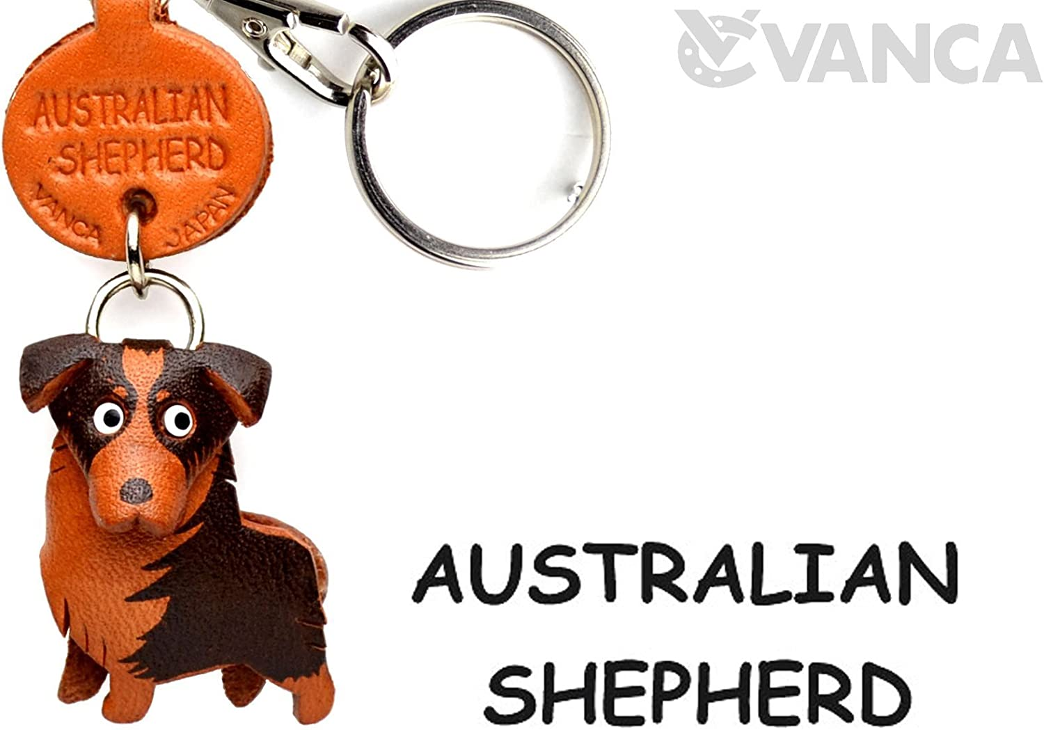 Australian Shepherd Leather Dog Small Keychain VANCA CRAFT-Collectible keyring Made in Japan