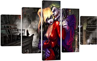 Joker and Harley Quinn Canvas Wall Art Modern Painting for Living Room Home Decor Movie Picture Posters HD Print Artwork 5 Piece Stretched and Framed Ready to Hang (60