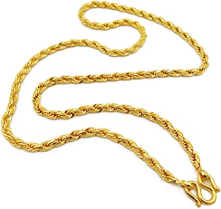 Rope Chain Gold Plated Filled Necklace 22k 23k 24k Thai Baht 65 Grams 29 Inches Width 5 mm Fashion Jewelry