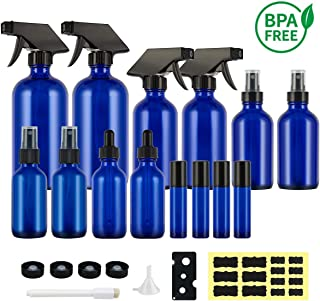 Hoa Kinh BPA Free Spray Bottles, Empty Cobalt Blue Glass Spray Bottle set with Labels,4 Eo Roller Bottles with 16/8/4/2oz Glass Spray Bottles for Essential Oils/Cleaning Products/Aromatherapy
