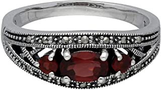 Gemondo USA Garnet Ring, Sterling Silver Triple Mozambique Garnet & Marcasite January Ring
