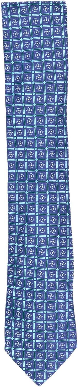 Robert Talbott Men's Teal/Navy Silk Iridescent Floral Square Pattern Necktie