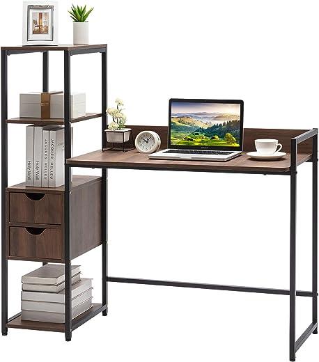 JOYLDIAS Schreibtisch, Computertisch mit Ablage und 2 Schubladen PC-Tisch, Bürotisch, Arbeitstisch, Stabile Konstruktion Tisch für Home Office Indoor