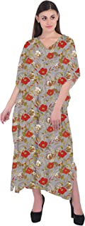 RADANYA Womens Floral Cotton 3/4 Sleeve Kaftan Loose Beach Cover Up Caftan Dress