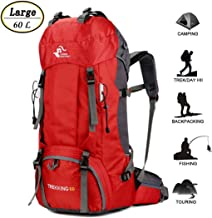 60L Waterproof Lightweight Hiking Backpack with Rain Cover,Outdoor Sport Travel Daypack..