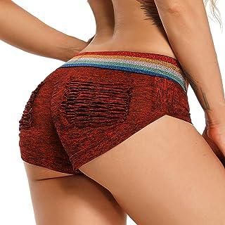 Women High Waist Workout Yoga Shorts Scrunch Butt Lift Running Sport Shorts Exercise Stretch Striped Outfit
