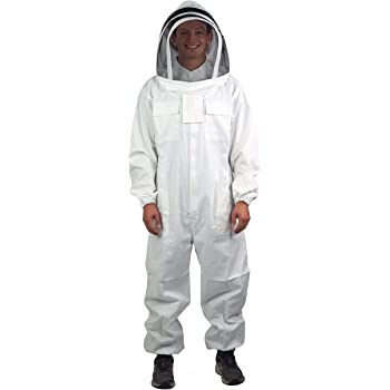 VIVO Professional Large Cotton Full Body Beekeeping Suit with Veil Hood (BEE-V106)