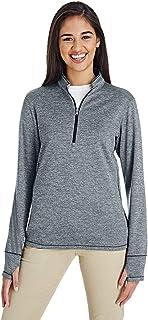 adidas Golf Womens 3-Stripes Heather Quarter-Zip (A285) -Mid Grey H -2XL
