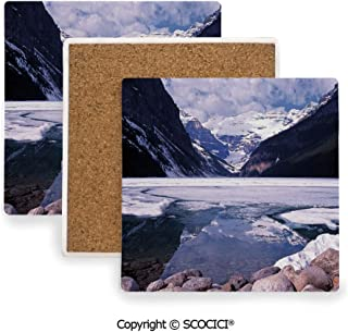 Ceramic Coasters with Cork Base, Prevent Furniture from Dirty and Scratched, Suitable for Kinds of Mugs and Cups,Winter,Lake Louise Alberta Canada Tourist Attraction,3.9