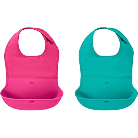 OXO Tot Roll-Up Bib 2 Pack - Pink/Teal