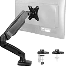 VIVO Height Adjustable Monitor Arm - Single Counterbalance Desk Mount for Screens up to 27 inches | Fully Articulating Black Pneumatic Universal VESA Stand (STAND-V001O)