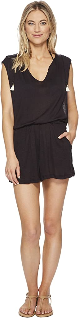 Lucky Brand - Solid Attitude Hooded Romper Cover-Up with Side Pockets