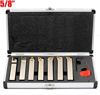 OSCARBIDE 5/8 Inch Indexable Carbide Lathe Turning Tool Holder CNC Lathe Bit Set Heavy-Duty for Turning Grooving Threading Nickel Plated Cut Off Holders Set, Tin Coated Carbide Inserts,7 Pieces