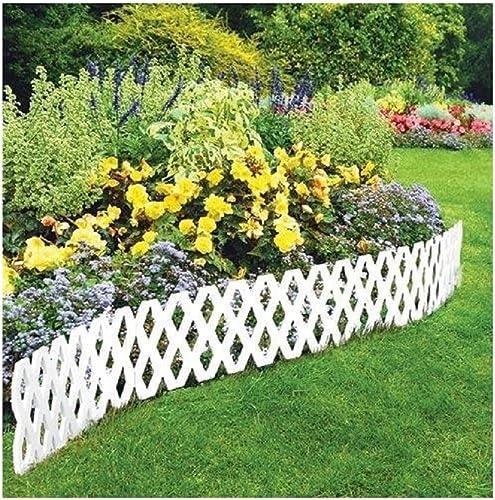popular LATTICE FENCE 4 Pc Outdoor new arrival Flexible Weatherproof outlet online sale Plastic Garden Edging Border, White online sale