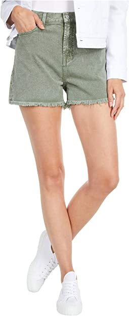 High-Waist Shorts with Fray Hem in Mineral Olive