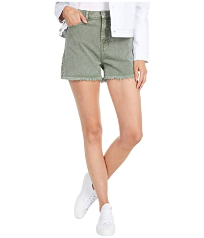 7 For All Mankind High-Waist Shorts with Fray Hem in Mineral Olive (Mineral Olive) Women