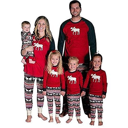 a8e6a89a7d Baonmy Christmas Holiday Family Matching Sleepwear Pajamas Set Couples  Pajamas