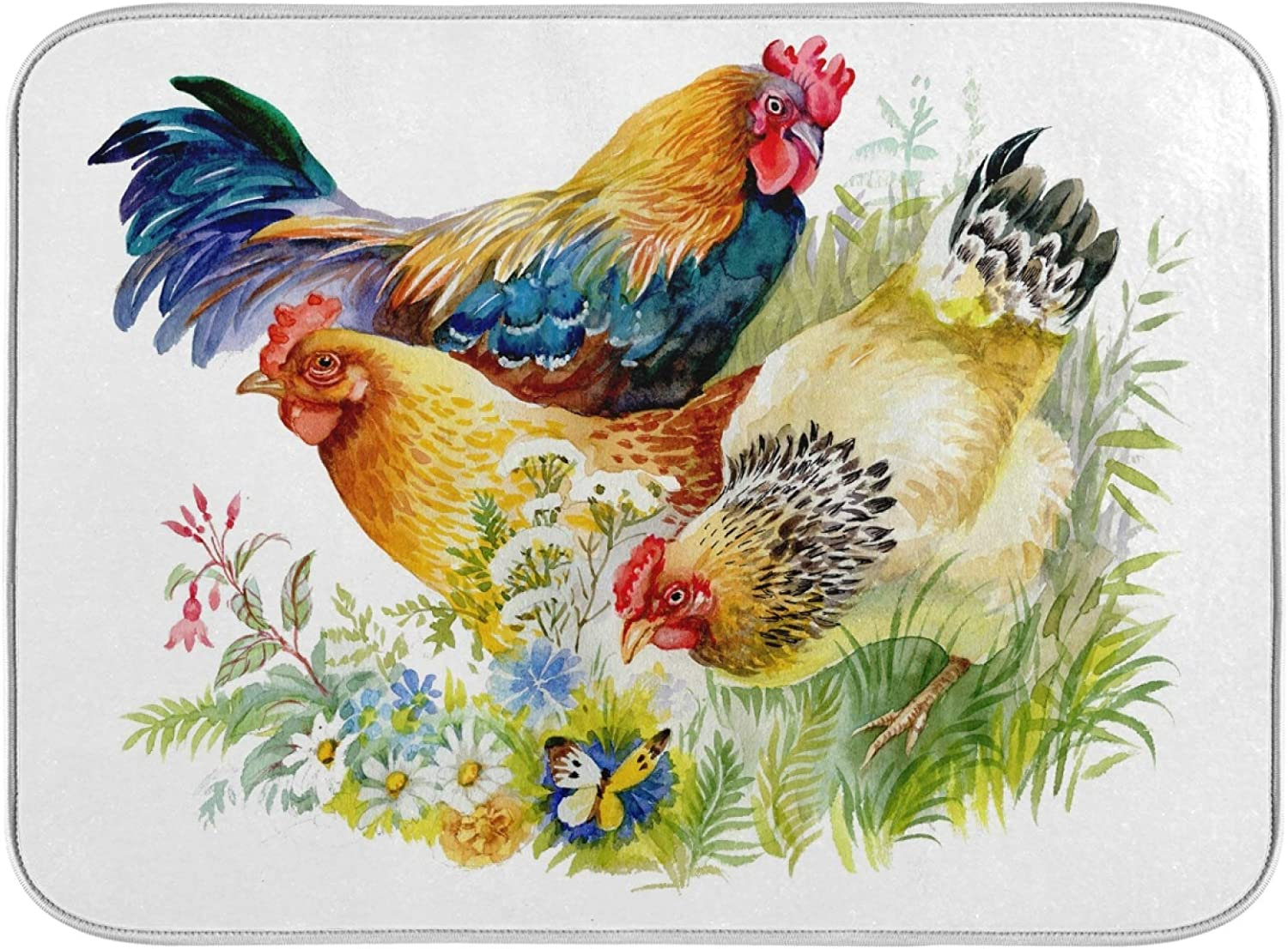 Aflyko Rooster Chicken Popular standard Dish Drying Countertop Mat Protector Kitc Some reservation