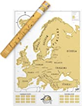Luckies of London LUD9W Europe Scratch Off Travel Map – Amazing Map Décor – The Perfect Travel Gift – White/Gold, Euro Edition