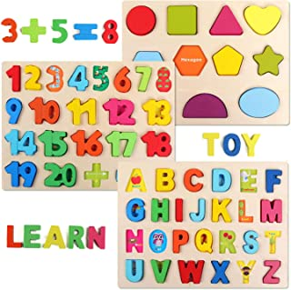 QZMTOY Wooden Puzzles for Toddlers, Wooden Alphabet Number Shape Puzzles Toddler Learning Puzzle Toys for Kids, 3 in 1 Puz...