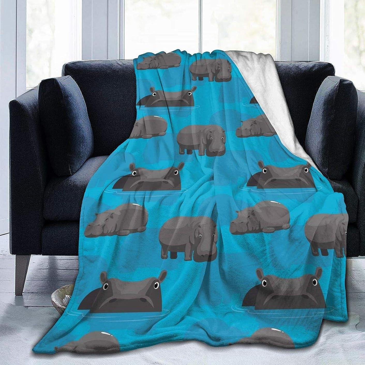 快適ナイトスポットボランティアかわいい カバー 河馬柄 毛布 掛け毛布 ブランケット シングル 暖かい柔らかい ふわふわ フランネル 毛布 三つのサイズ