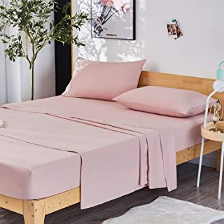 Dreaming Wapiti Queen Sheet Set, Double Brushed Breathable 4pcs Microfiber Bedding, Super Soft Luxury Sheets with 16-inch Deep Pocket, Hypoallergenic, Wrinkle Fade Resistant (Pink Mocha)