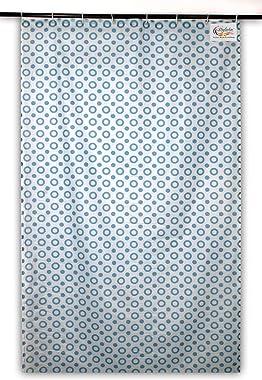 Stylista Shower PVC Curtains for Bathroom 7 Feet Height 4.5 Feet Width Geometric Pattern Blue with 8 Hooks