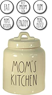 Rae Dunn Mom's Kitchen Canister for Cookies, Treats or Snacks and Set of 6 Fridge Magnets Gift Set Large Letter LL Pottery Bundle