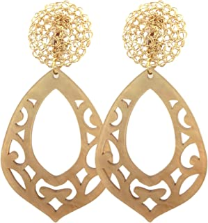 Pendientes de clip-Chapado en Oro con Cristales Claro De Lujo Arito-Elsie C