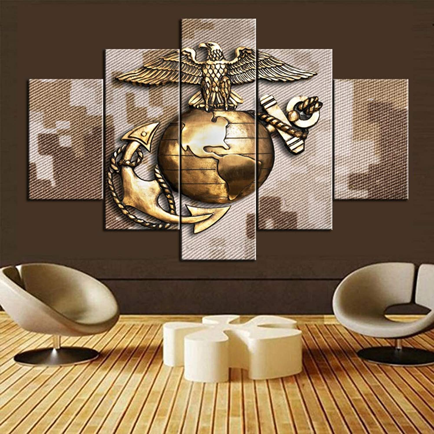 Pictures for Living Room Native American Decor 5 Piece Canvas Wall Art U.S. Marine Corps Paintings Contemporary Artwork Home Decorations Giclee Wooden Framed Stretched Ready to Hang(60''Wx40''H)