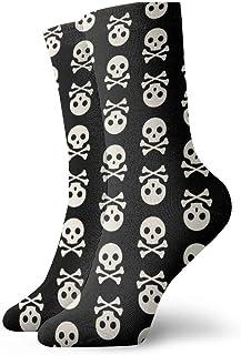 OUYouDeFangA - Calcetines Cortos clásicos de algodón con diseño de Calavera para Adultos, para Yoga, Senderismo, Ciclismo, Correr, fútbol