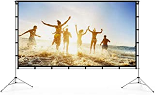 Vamvo Outdoor Indoor Projector Screen with Stand Foldable Portable Movie Screen 120 Inch (16:9) Full-Set Bag for Home Thea...