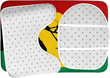 BIAN-63 Black Power Pan African Flag Black History Month Bathroom Rug Mat Bath Accessories Set 3 Piece,Non-Slip Bath Mat Pedestal Rug+U Shaped Contour Mat+Lid Toilet Cover Pad
