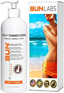 Self Tanner Dark Sunless Tanning Lotion 8 oz, Body and Face for Bronzing and Golden Tan - Very Dark Sunless Bronzer Fake Tanning Gel Lotion Lotion   (Packaging May Very)