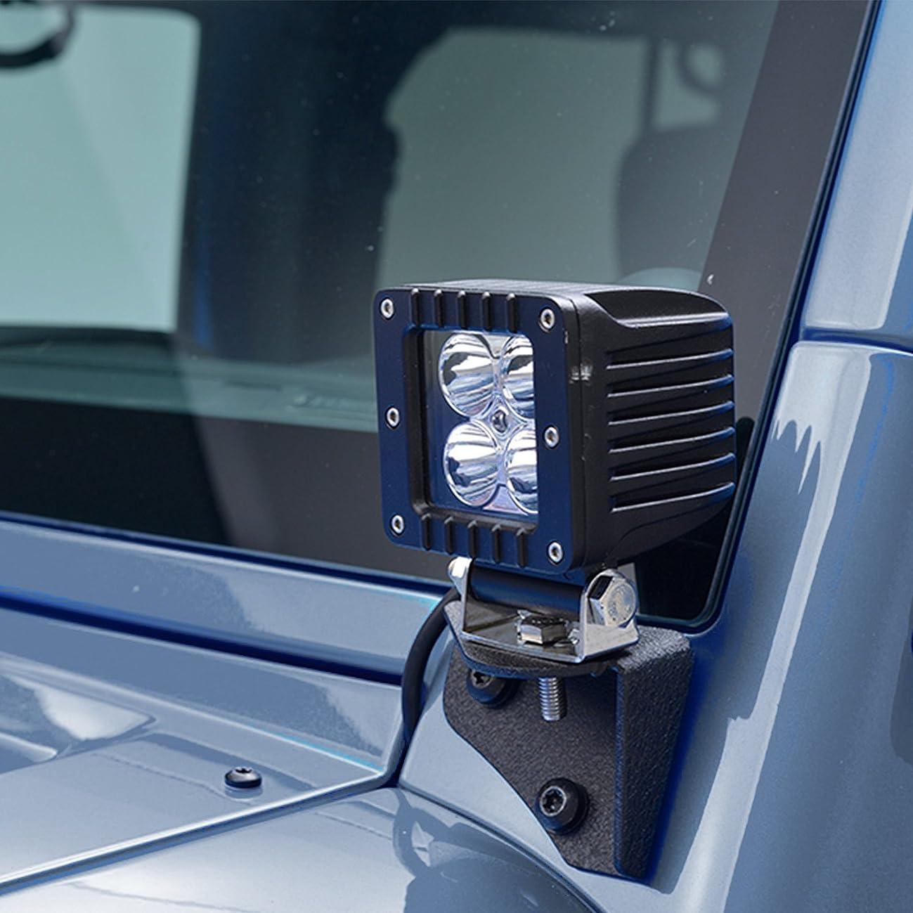 Restyling Factory -Hinge LED Light Mount Windshield Corner Relocate Mounting Brackets Kit 1 Pair (Black) for 07-18 Jeep Wrangler JK