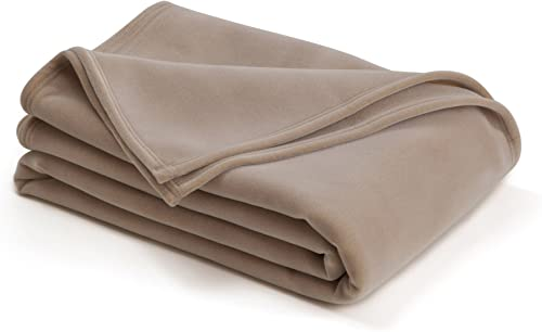 The Original Vellux Blanket - Twin, Soft, Warm, Insulated, Pet-Friendly, Home Bed & Sofa - Tan