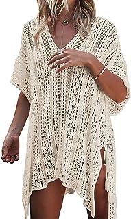 Women Cover-ups Swimwear Pure V-Neck Crochet Hollow-Out Tassels Cover Beach Bikini Swimsuit