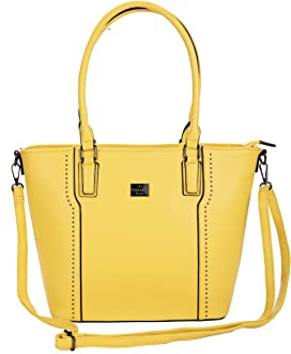 BERNARDO BOSSI großer Shopper aus weichem veganem Leder - Damen Schultertasche - Handtasche Groß (Gelb)