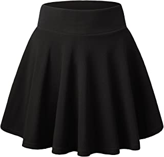 Women's Basic Flared Casual Mini Skater Skirt with Shorts