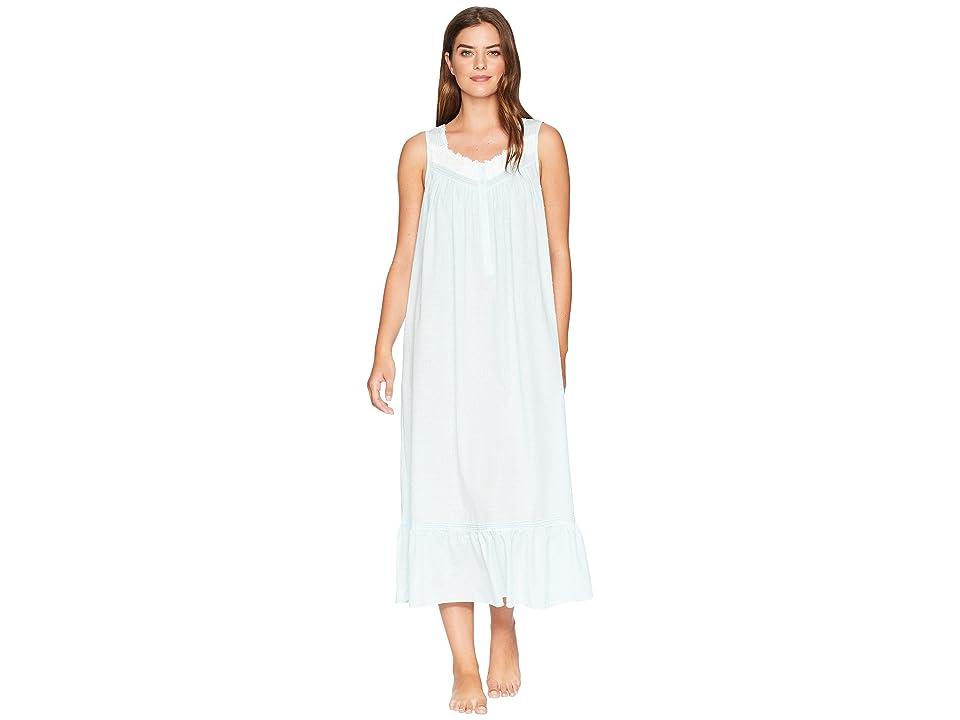 Eileen West Sheer Stripe Clip Dot Ballet Nightgown (Solid Light Autumn Teal) Women